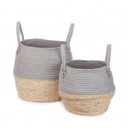 Set de 2 paniers en forme de jarre naturel et gris