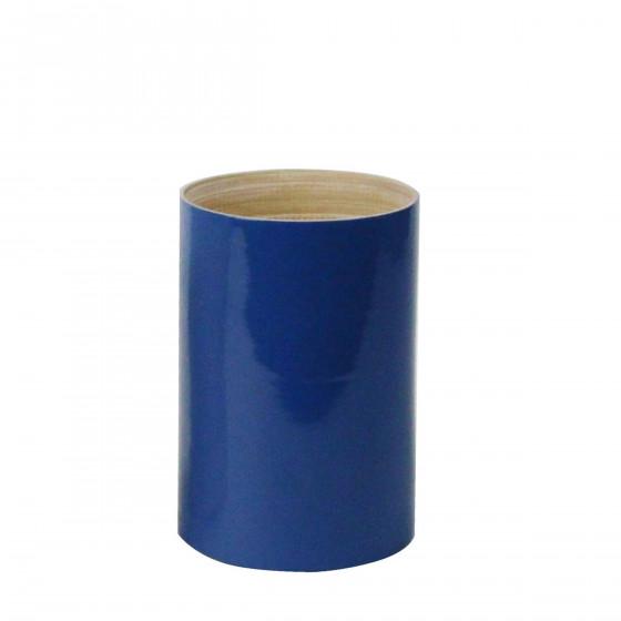 Pot à ustensiles en bambou laqué bleu