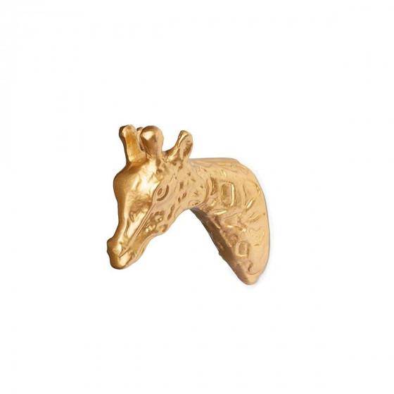 Patère girafe en métal doré