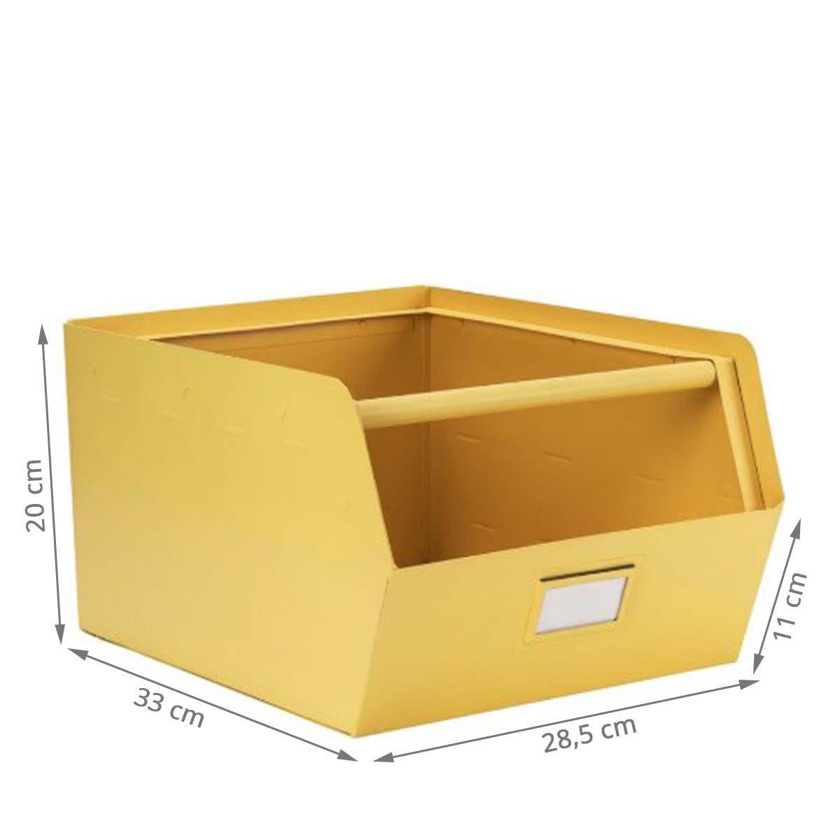 Casier De Rangement En Metal Jaune 20x28x33