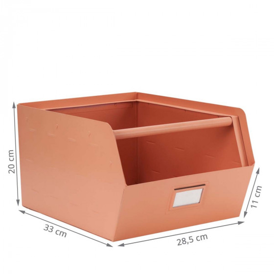 Casier de rangement empilable en métal rose avec porte étiquette