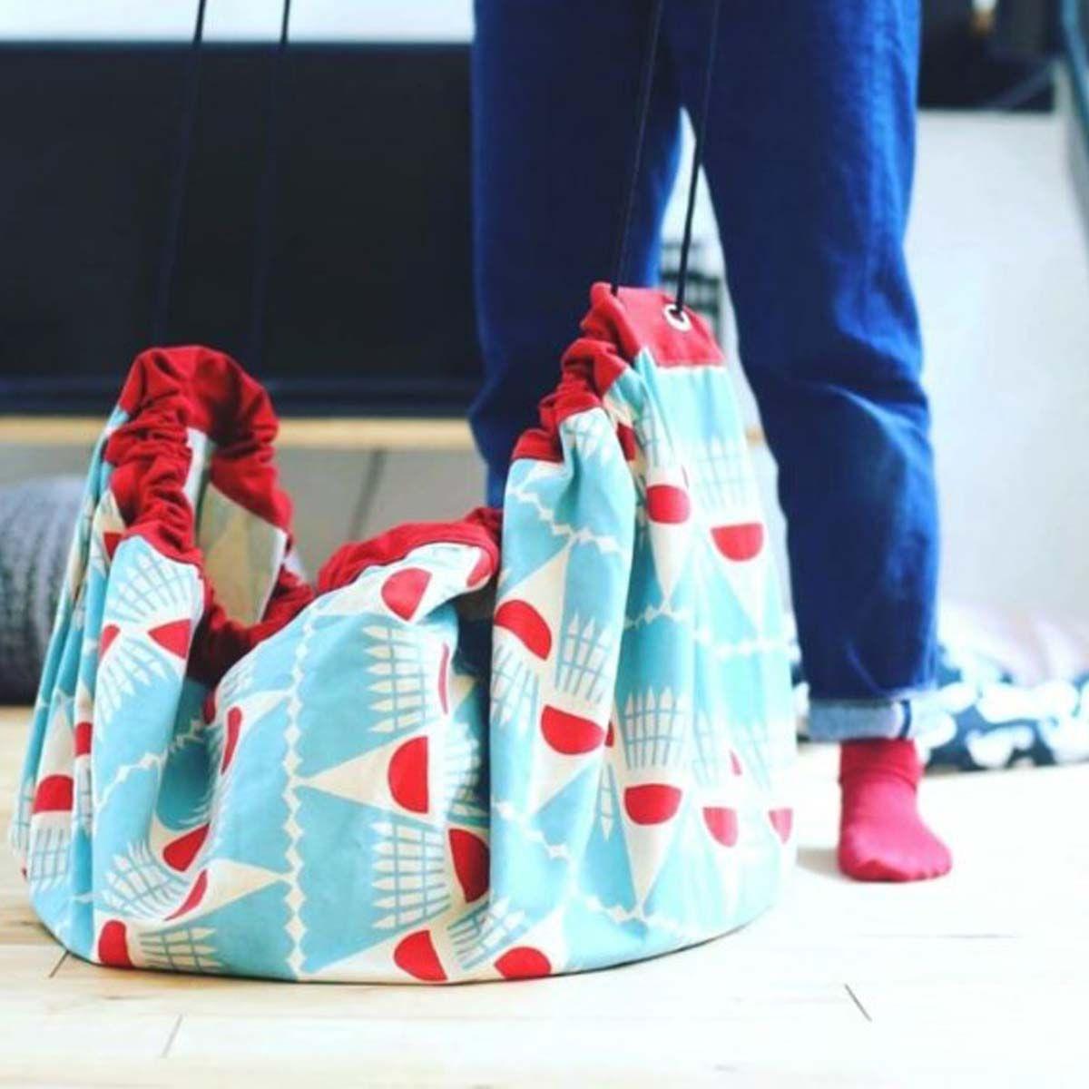 Sac De Jeu Nomade tapis de jeu sac de rangement à motifs turquoise et rouge