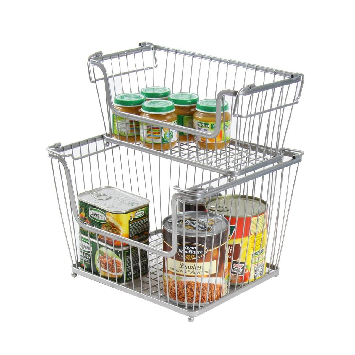 Panier m tal rectangulaire empilable rangement aliments - Caisse rangement plastique ikea ...
