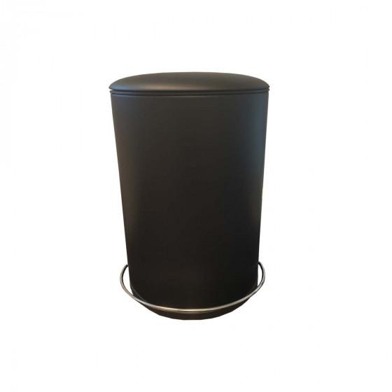 Poubelle de salle de bain noire à pédale