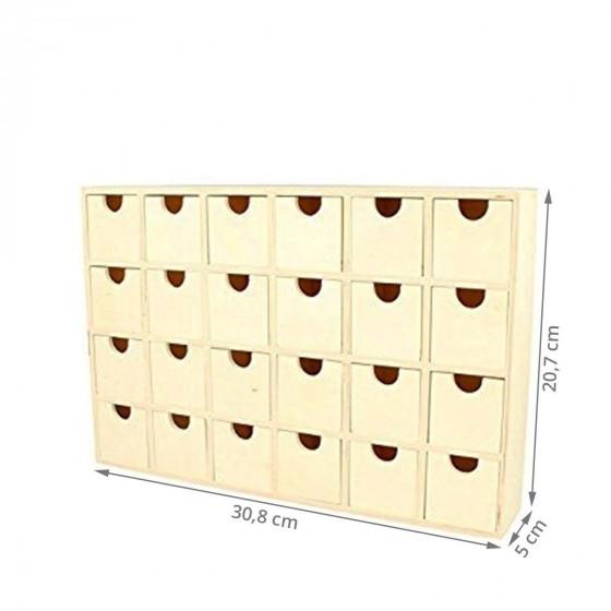 Calendrier de l'Avent à tiroirs en bois