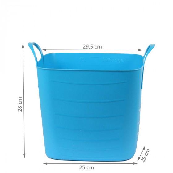 Bac de rangement avec couvercle en plastique souple turquoise