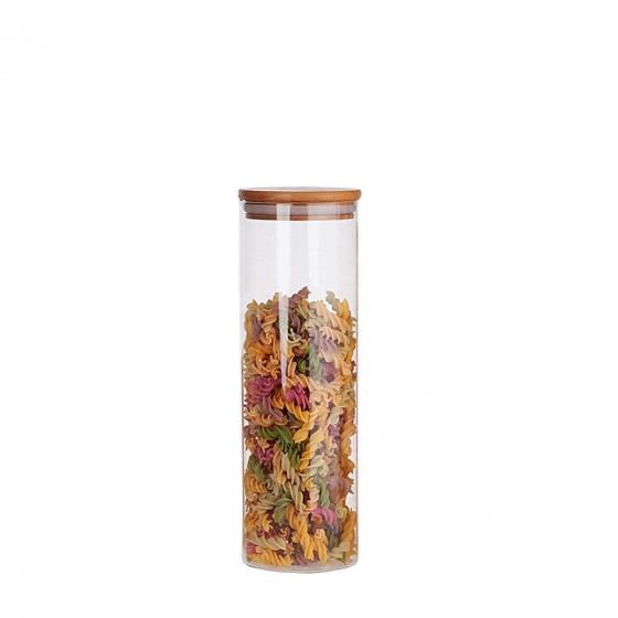 Bocal en verre avec couvercle en bois 1,4 litre