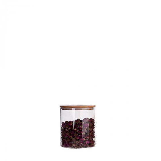 Bocal en verre et couvercle en bois 500 ml