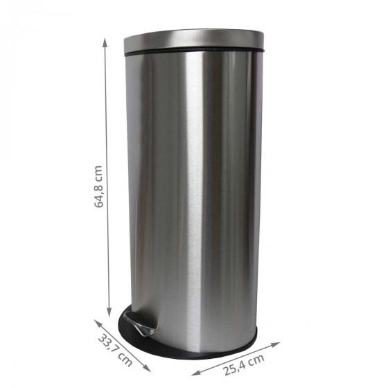 Poubelle à pédale 30 litres inox