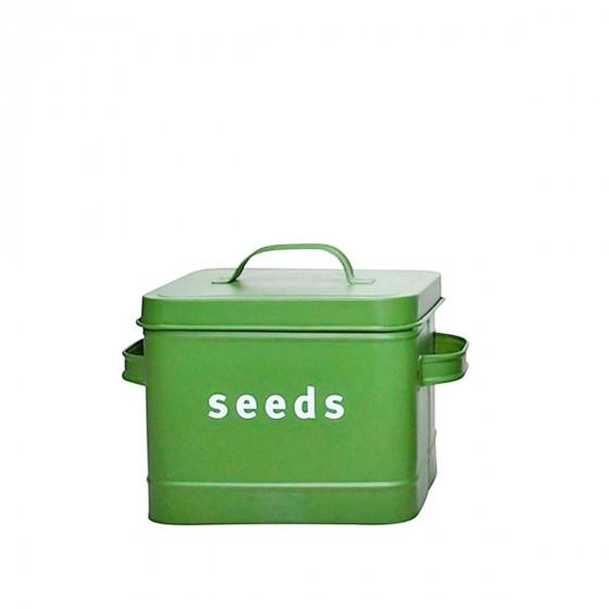 Boîte de rangement pour graines en métal vert kaki