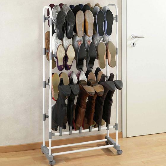 Étagère à chaussures gain de place sur roulettes