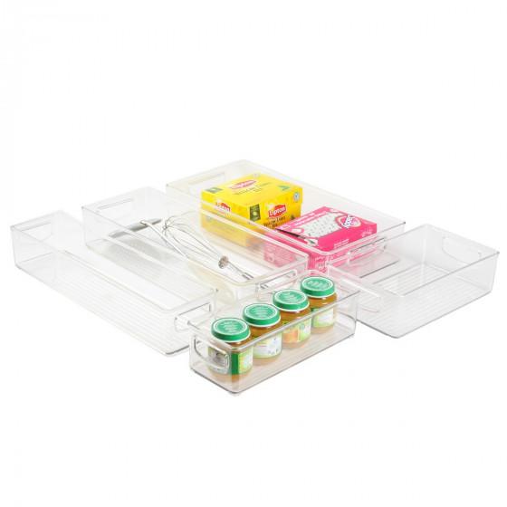 Long bac en plastique M transparent et empilable pour organiser placards et tiroirs