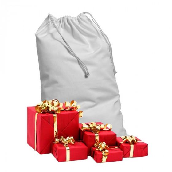 Hotte du Père Noël en toile blanche