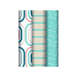 3 rouleaux d'emballage cadeaux pastels à motifs rétro