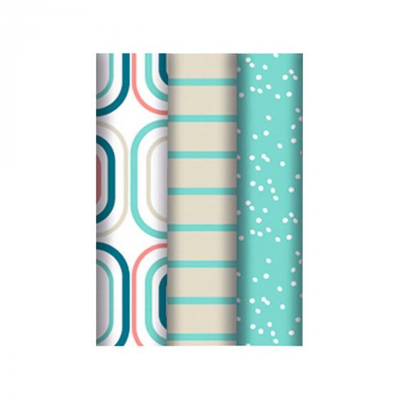 3 rouleaux d'emballage cadeaux pastel à motifs rétro