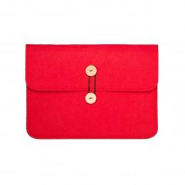 Pochette ordinateur en feutre rouge framboise