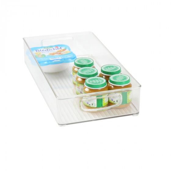 Long bac en plastique L transparent et empilable pour organiser placards et tiroirs