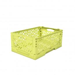 Mini Cagette en plastique vert anis empilable et pliable