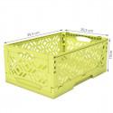Cagette en plastique vert anis empilable et pliable