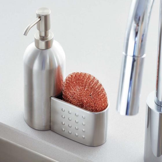 Pompe à savon et porte-éponge en inox pour évier