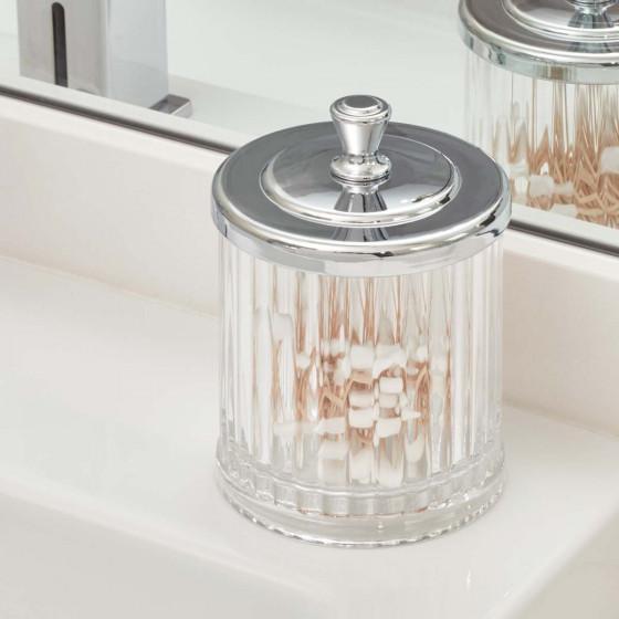 Pot à coton cannelé en plastique transparent avec un couvercle en métal