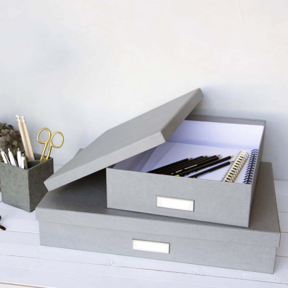 Boîte A3 en carton gris flanelle