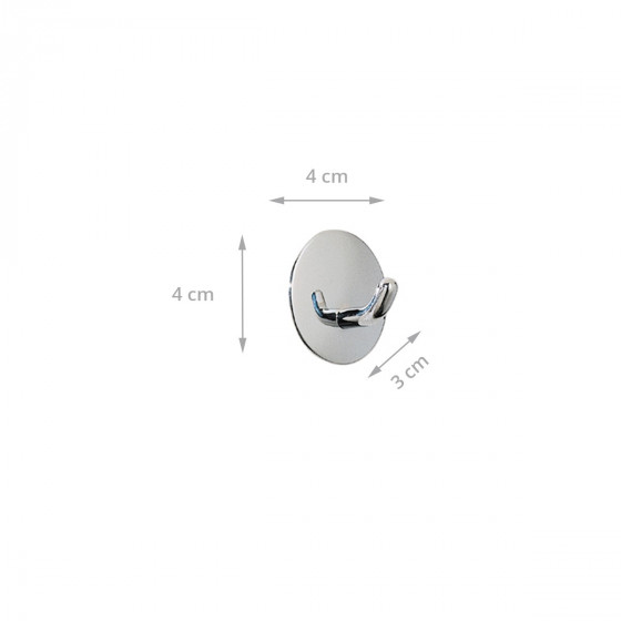 2 crochets adhésifs ronds en métal chromé inoxydable Diamètre 4cm