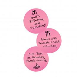 3 stickers ronds et roses repositionnables et effaçables à sec