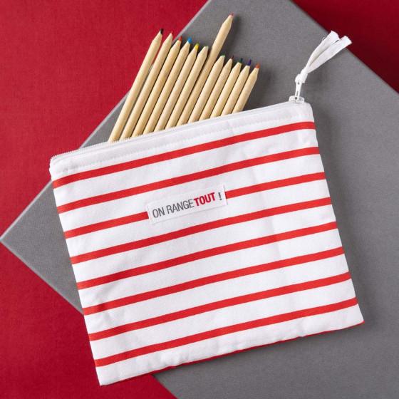 Maxi pochette rayée rouge et blanc