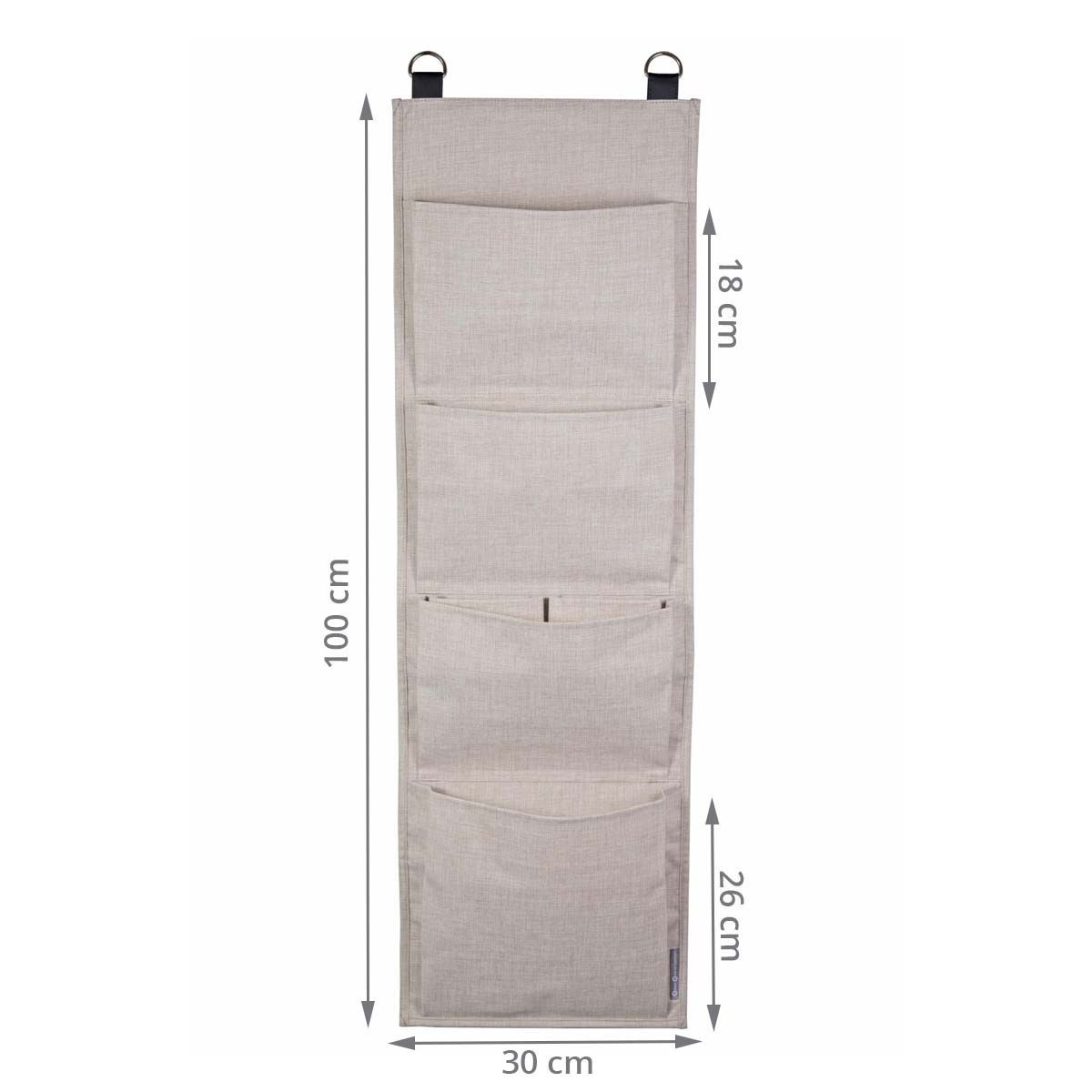 Rangement mural en tissu - 4 grandes poches - À suspendre