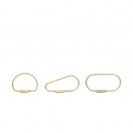 3 grands anneaux porte clés en laiton