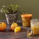 Pot en verre avec couvercle orange