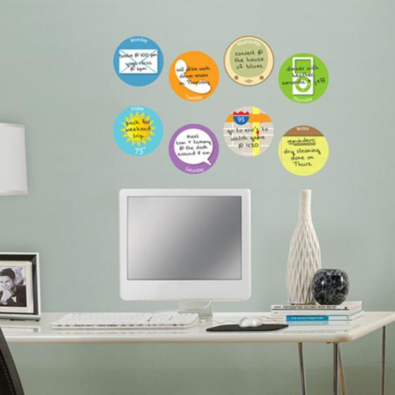 8 stickers ronds repositionnables et effaçables à sec