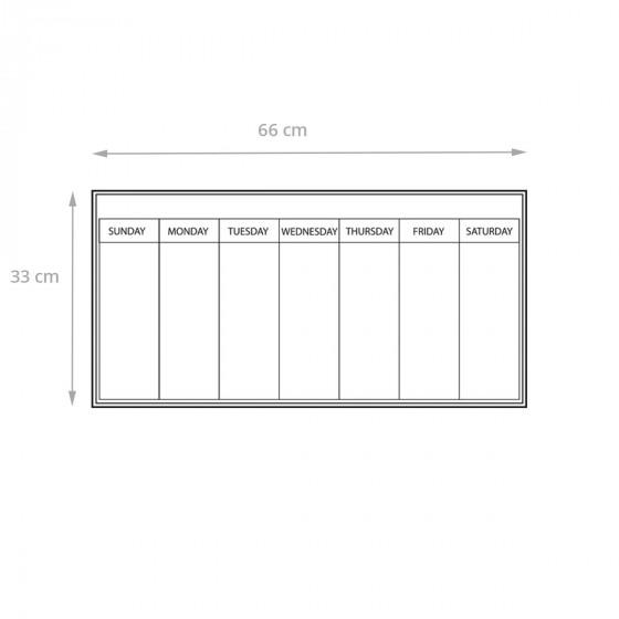 Feuille adhésive blanche avec planning hebdomadaire repositionnable et effaçable à sec