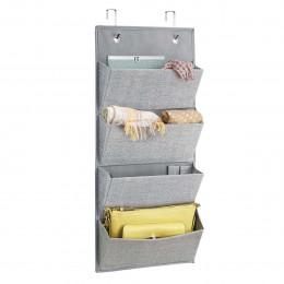 Rangement de porte 4 poches plates en tissu gris