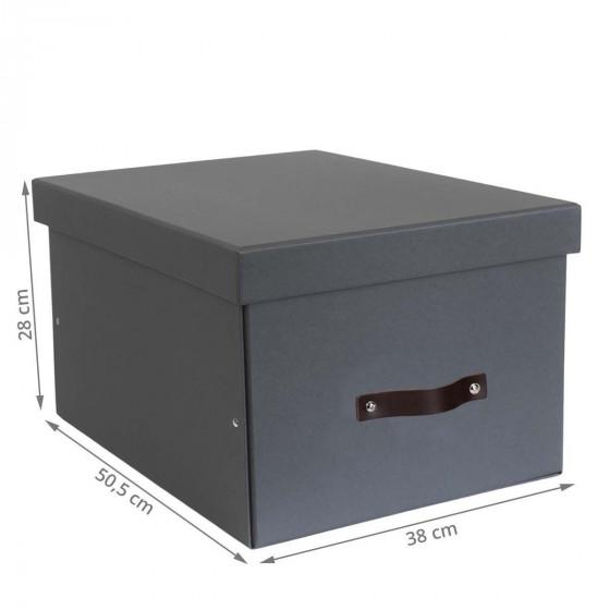 Grande boîte de rangement en carton gris anthracite