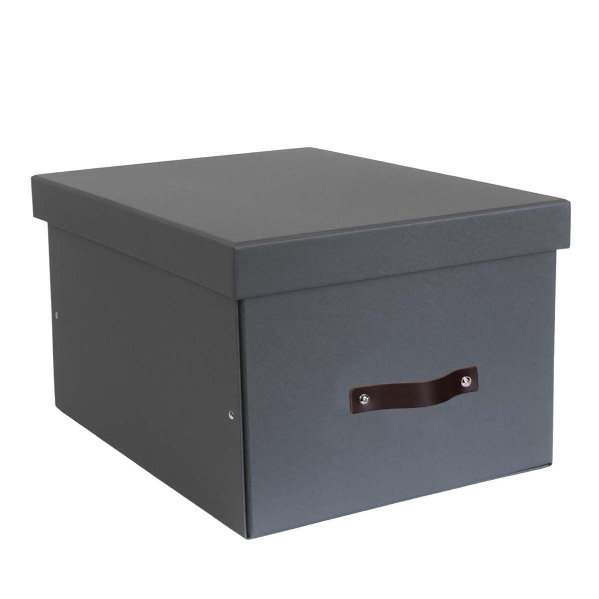 Grande boîte de rangement en carton gris - 28x38x50