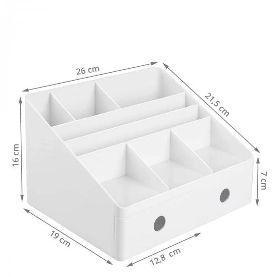 Organiseur de bureau blanc 8 compartiments 2 tiroirs