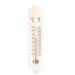 Thermomètre extérieur en métal émaillé crème