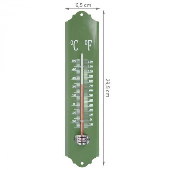 Thermomètre extérieur en émail vert