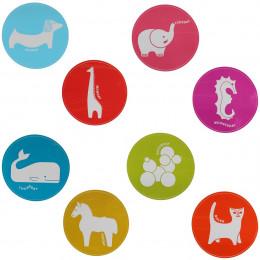 8 stickers ronds aux couleurs vives pour enfants repositionnables et effaçables à sec