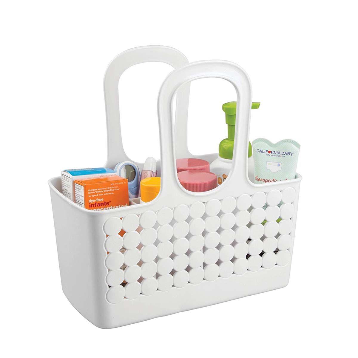 Panier pour salle de bain avec anses - Plastique blanc