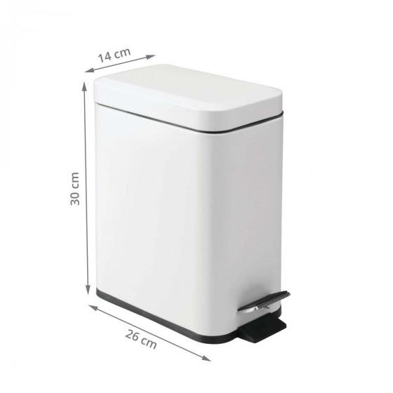 Poubelle rectangulaire à pédale 5 litres