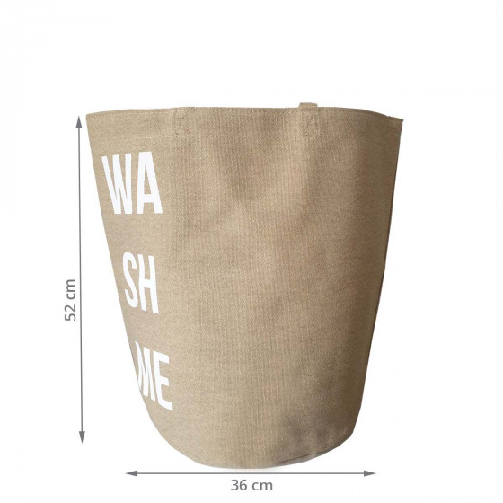 Sac à linge en tissu beige naturel en tissu avec inscription Wash it