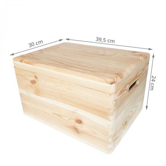 Boîte de rangement en pin FSC avec couvercle L