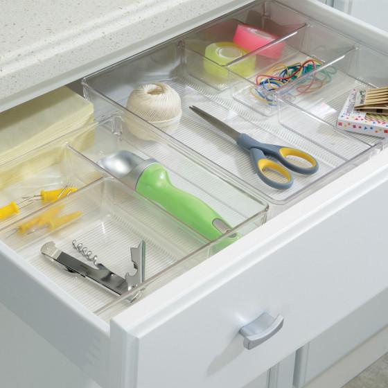 Organisateur de tiroirs à 3 compartiments en plastique transparent