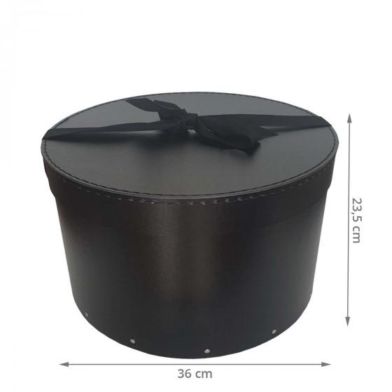 Grande boîte à chapeaux noire avec ruban noir (L)