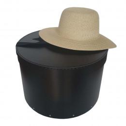 Grande boîte à chapeaux noire avec ruban (L)