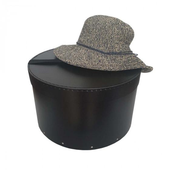 Boîte à chapeaux noire avec ruban noir (M)