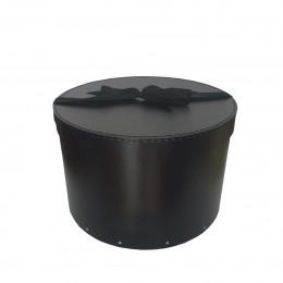 Boîte à chapeaux en carton noir avec ruban (M)